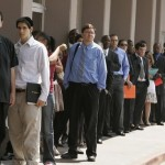 A line of jobseekers outside Monster.com job fair in Los Angeles